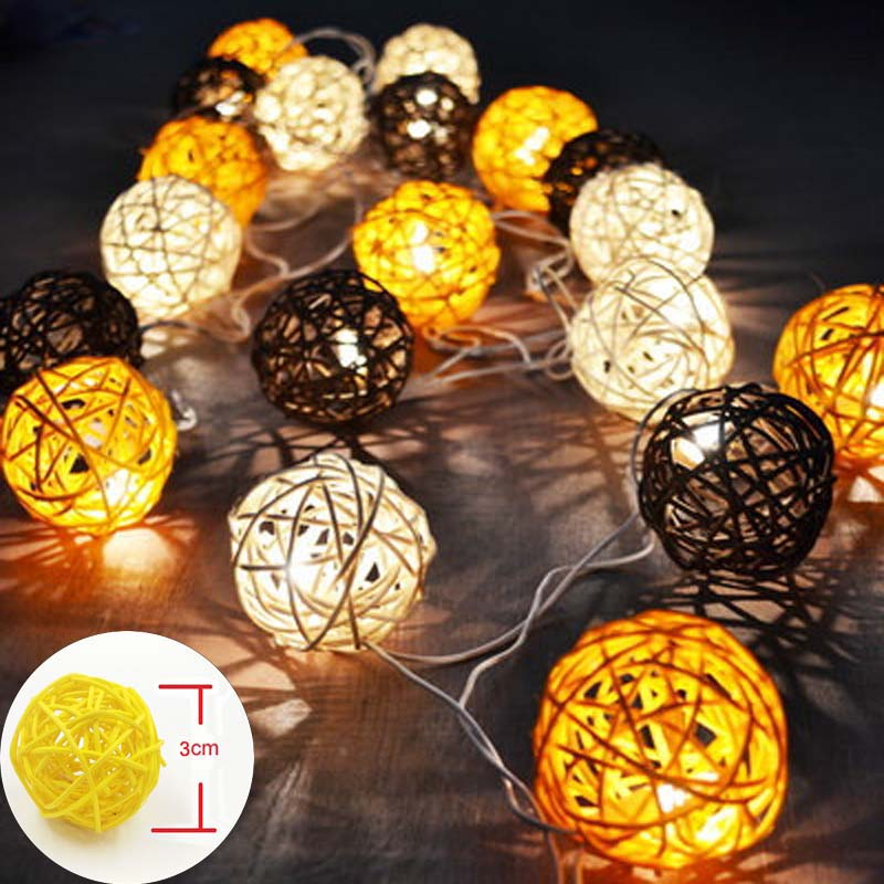 LED String Holiday Lights 20 Coffee White Rattan Ball Lights AC Plug Battery Operated LED Wedding Christmas Tree Lights Garlands 20 led bubble ball shaped christmas tree string lights decorated colored lamp