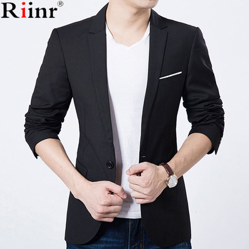 Riinr 2017 Fashion New Arrival Blazer Masculino Autumn&Winter Brand Casual Gentleman Solid Color Single Button Casaco Masculino ...