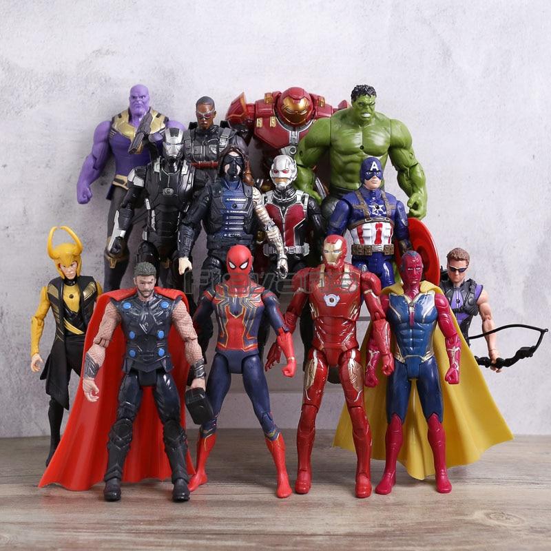 14 pcs/ensemble Avengers 3 Infinity Guerre Thanos Spiderman Iron Man Captain America Thor Loki Hulkbuster PVC Figurines Enfants Toya