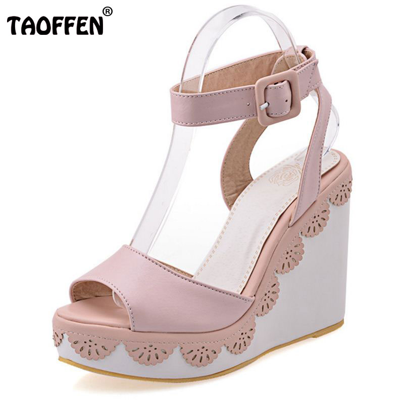 TAOFFEN Size 33-43 Women Ankle Strap Sandals Open Toe Platform High Wedges Summer Shoes Women Party Daily Sandalias Footwear meotina shoes women sandals summer sexy stiletto high heel sandals open toe ankle strap party pumps lady shoes purple size 34 43