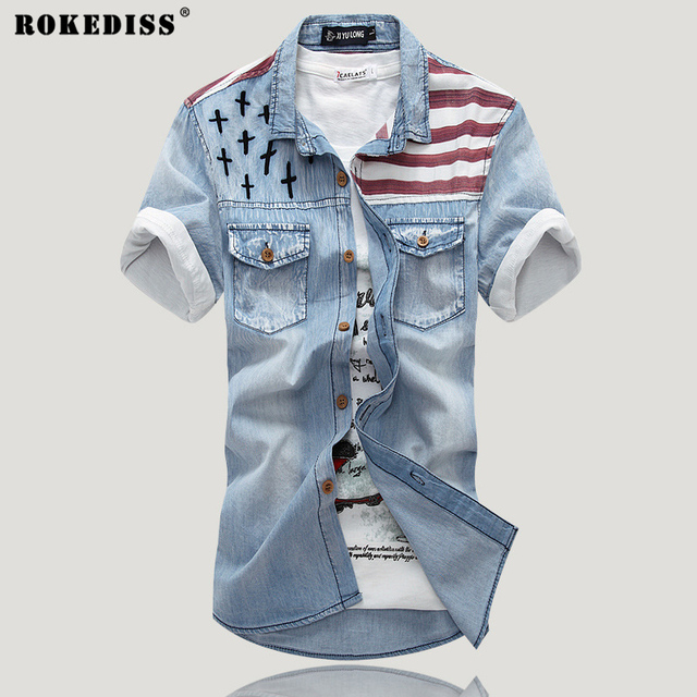 2017 New Summer printing denim short-sleeved shirt Slim inch hole jeans shirt pocket shirt tide male (asian size) C335