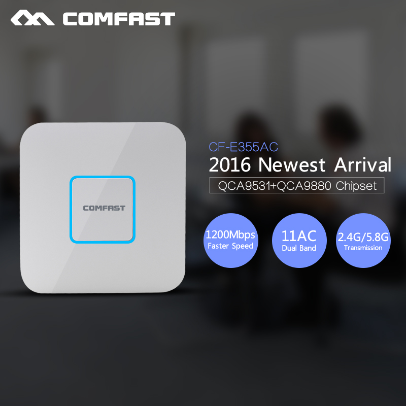 COMFAST 1200Mbps Gigabit WIFI router Ceiling AP 802.11AC 5.8G+2.4Ghz Qualcomm chipset  CF-E355AC WiFi Access Point comfast full gigabit core gateway ac gateway controller mt7621 wifi project manager with 4 1000mbps wan lan port 880mhz cf ac200