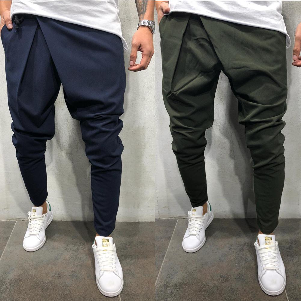 aa7fb73c3 Men Long Casual Irregular Pants Gym Slim Trousers 2019 New Solid ...