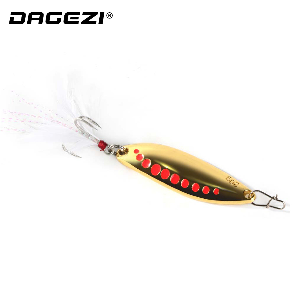 DAGEZI Metal Spinner Spoon Fishing Lure Hard Baits Sequins Noise Paillette with Feather Treble Hook 10/15/20g купить