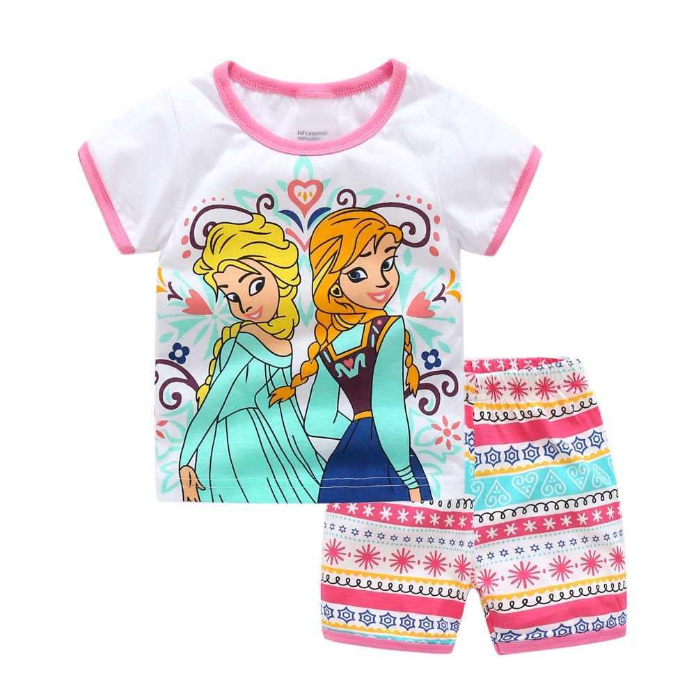 2019 летняя одежда для девочек Conjunto Menina пижамы дети животных Жираф  комплект детской одежды Ensemble Fille 5bf8a5f36ca67