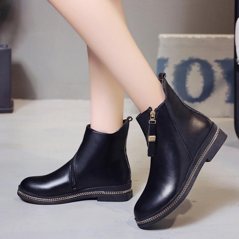 Femmes Bottes Dames Casual Khtaa De Automne Design Cheville Zip Brand Martin Black Femme Plat Mode Chaussures Confort Qualité Pu Haute dYYaqX