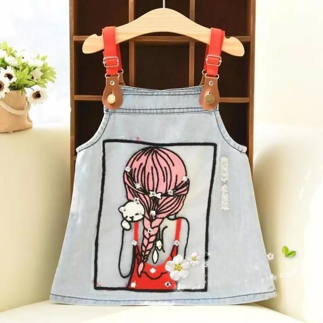2016 high quality summer denim girls childern skirts cute girl knitting pockets button decoration sundress for little girls