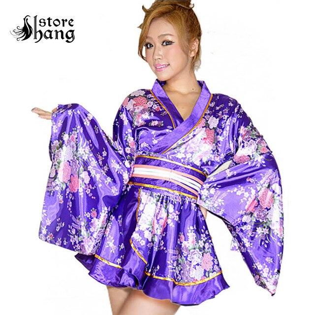 Sexy Girl Luxury Short Kimono Robe Sweet Floral Patten Japanese Kimono  Cosplay Dress Outfit Women Silk aa27e1268