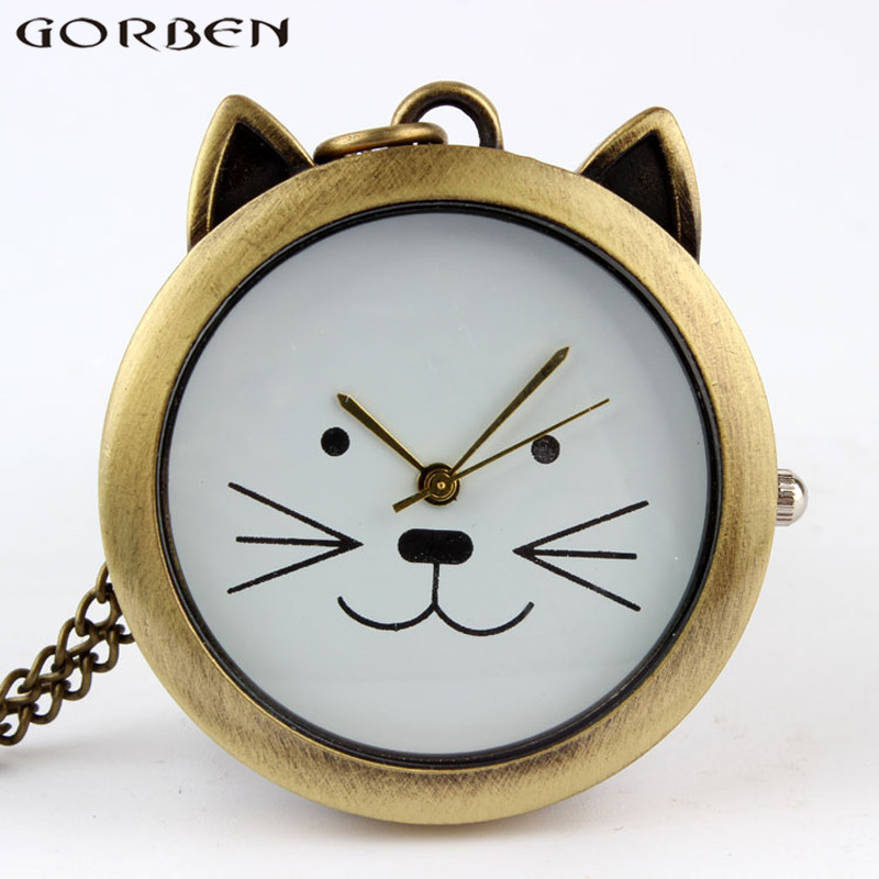 Lovely Cute Cat Quartz Pocket Watch Necklace Vintage Pendant Watches With Chain Women Girls' Gift Retro Men Fob Watches Clock