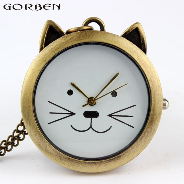Lovely Cute Cat Quartz Pocket Watch Necklace Vintage Pendant Watches With Chain