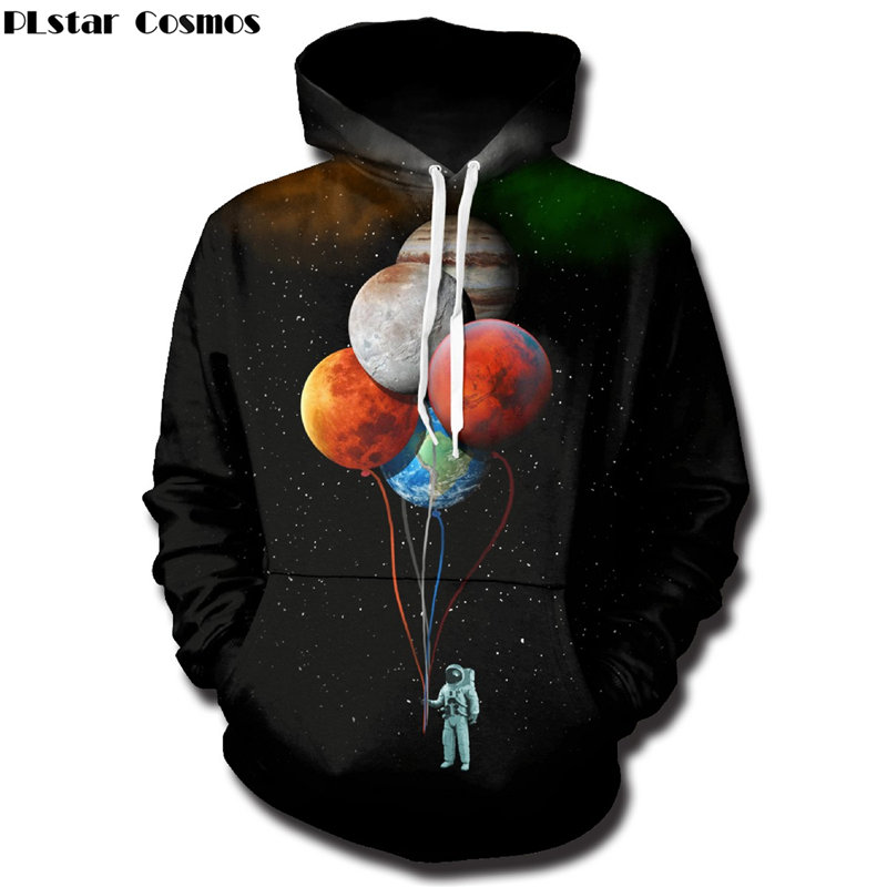 PLstar Cosmos Planet Baloons astronaut Hoodies Sweatshirts men/women 3D Print Hooded Sweats Tops Streetwear Unisex Pullover