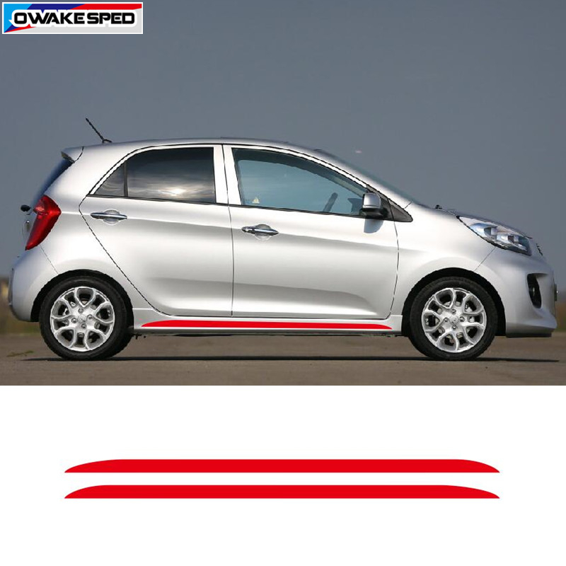 Carbon Fiber Sport Door Side Skirt Stripes For KIA Picanto Morning Car Styling Body Decor Sticker Auto Accessories Vinyl Decals