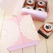 Хлебобулочная упаковка фиолетовое кружевное украшение Печенье макаронная упаковка коробка для печенья десертные коробки поставка сувениров