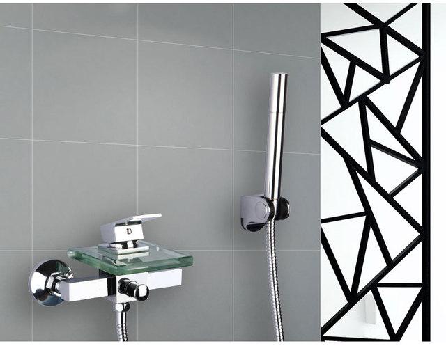 bathtub faucet with handheld shower head. Wall Mounted Waterfall Shower Faucet Glass Set  Copper Bathtub Chrome Bathroom Handheld