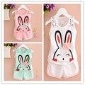2016 Маленьких детей летом Кролик шорты повседневную одежду девочка мультфильм 0-3 7 месяцев ребенок костюм костюм жилет