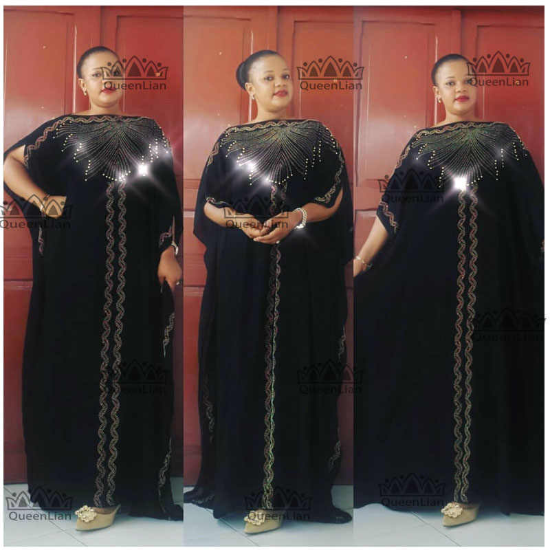 2019 חדש עיצוב אפריקאי Bazin שיפון ארוך מקל יהלומי שרוול דאשיקי שמלה עבור גברת אורך: 140cm רחב: 115cm(zuan #)