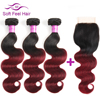 Soft Feel Hair Ombre Brazilian Body Wave 3 4 Bundles With Closure 1B Burgundy Ombre Human