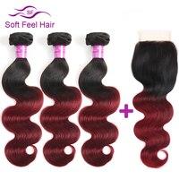 Soft Feel Hair Ombre Brazilian Hair Body Wave With Closure 1B Burgundy Human Hair 3 Bundles