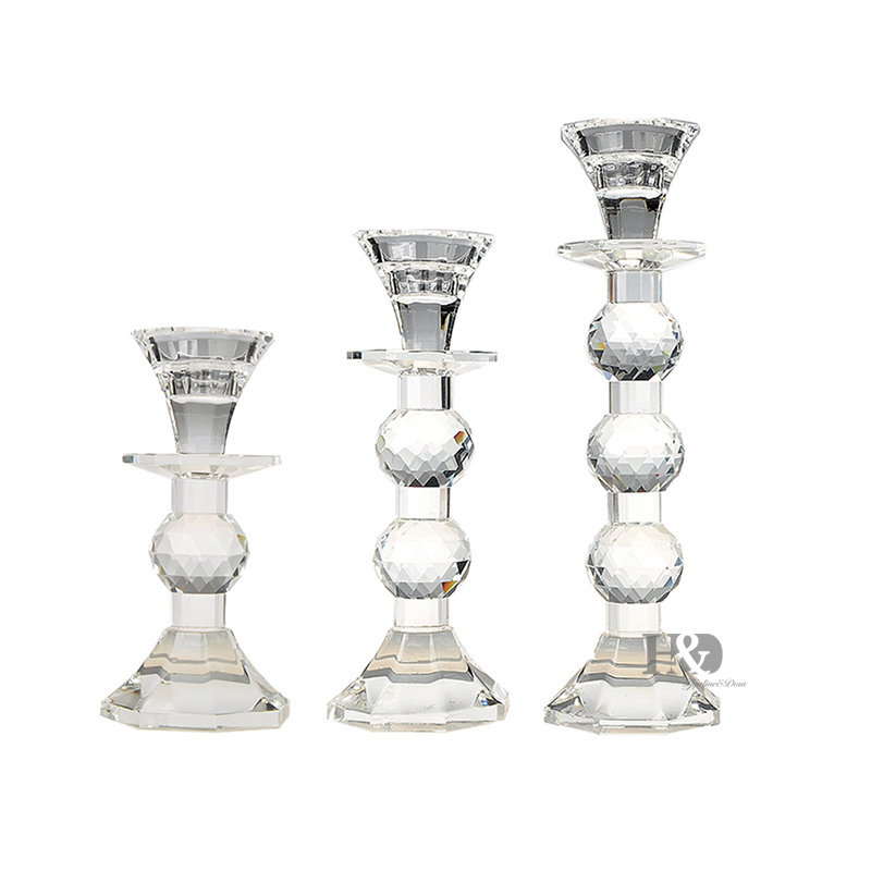 2016 Crystal Glass Pillar Candle Holder Sets Wholesale Wedding Dinning Table Lamps