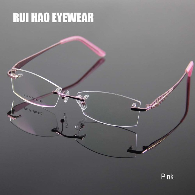 Us 1529 49 Offrimless Glasses Frame Women Rectangle Eyewear Frames Eyeglasses Women Frame Prescription Spectacles Women Grau In Eyewear Frames