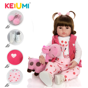 KEIUMI Cute Giraffe Reborn Baby Girl Doll Real Truly Silicone Vinyl Boneca Reborn DIY Toy Stuffed Doll For Kids Birthday Gift(China)