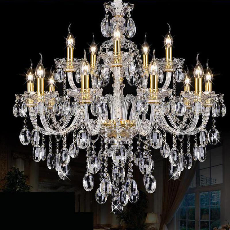 15 heads gold candle Led fixture crystal hanging chandelier lighting hotel villa chandeliers living room K9 clear cristal lustre modern led crystal chandelier lights living room bedroom lamps cristal lustre chandeliers lighting pendant hanging wpl222