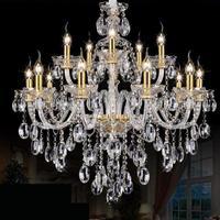 15 heads gold candle Led fixture crystal hanging chandelier lighting hotel villa chandeliers living room K9 clear cristal lustre