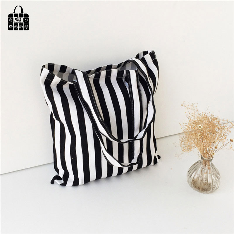 ROSEDIARY Classic black&white stripes 100%cotton canvas Handbags large capacity Shopping Beach Bags Women Girl Shoulder bags