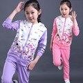 Мода две picese куртка и брюки костюм девочки-подростки бутик комплектов одежды осень