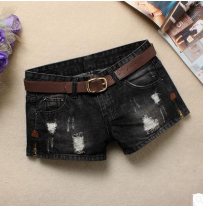 Cowboy   Short   S/3Xl Without Belt Black Womens Korean Denim   Shorts   Casual Ripped Jeans   Short   Large Size Female Hole   Short   J2433
