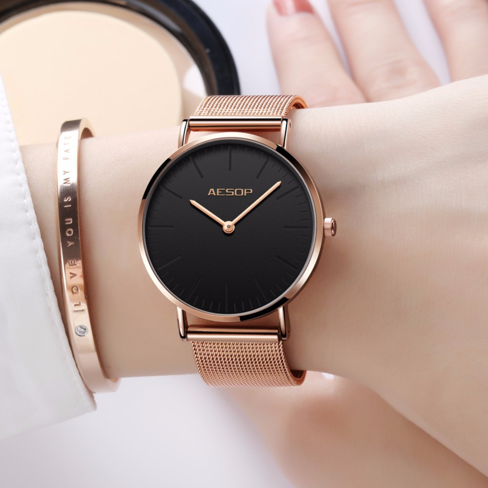 Luxury AESOP Fashion Ladies Watch Rose Gold Women Watches Elegant Minimalism Casual Black Female Waterproof Clock for girl 2018 tshing ray fashion women rose gold mirror cat eye sunglasses ladies twin beams brand designer cateye sun glasses for female male