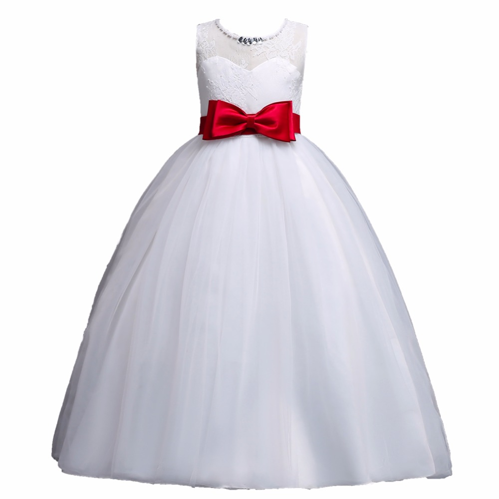 Summer Flower Girls Sleeveless Princess Dresses for Wedding Party 5 to 16 Years Dress For Kids Lace Dresses 10Y Robe Fille Red protective flip open pu leather case for iphone 5 sky blue