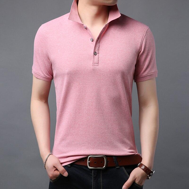 2020 New Fashion Brand Designer   Polo   Shirt Men Solid Color Summer Short SleeveSlim Fit Top Grade Poloshirt Casual Mens Clothing
