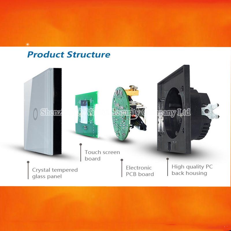 4-EU 1Gang 2Way Smart Home Wifi Light  Switch Remote Control Wall Switch Crystal Panel 110-220V RF433 Compatibl Broadlink RM Pro