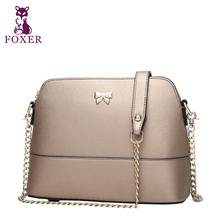 FOXER Brand 2016 Genuine Leather Shell Bag Ladies Cowhide Chains Shoulder Bag Casual Small Crossbody Women Messenger Bags Bolsos