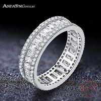 ANFASNI Elegancki 925 Sterling Silver Rings CZ Wieczność Palec Serdeczny dla Kobiet Moda Ślubna Biżuteria Anillos Bague CGSRI0026-B