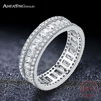 ANFASNI Elegant 925 Sterling Silver Rings CZ Finger Ring For Women Fashion Wedding Eternity Jewelry Bague