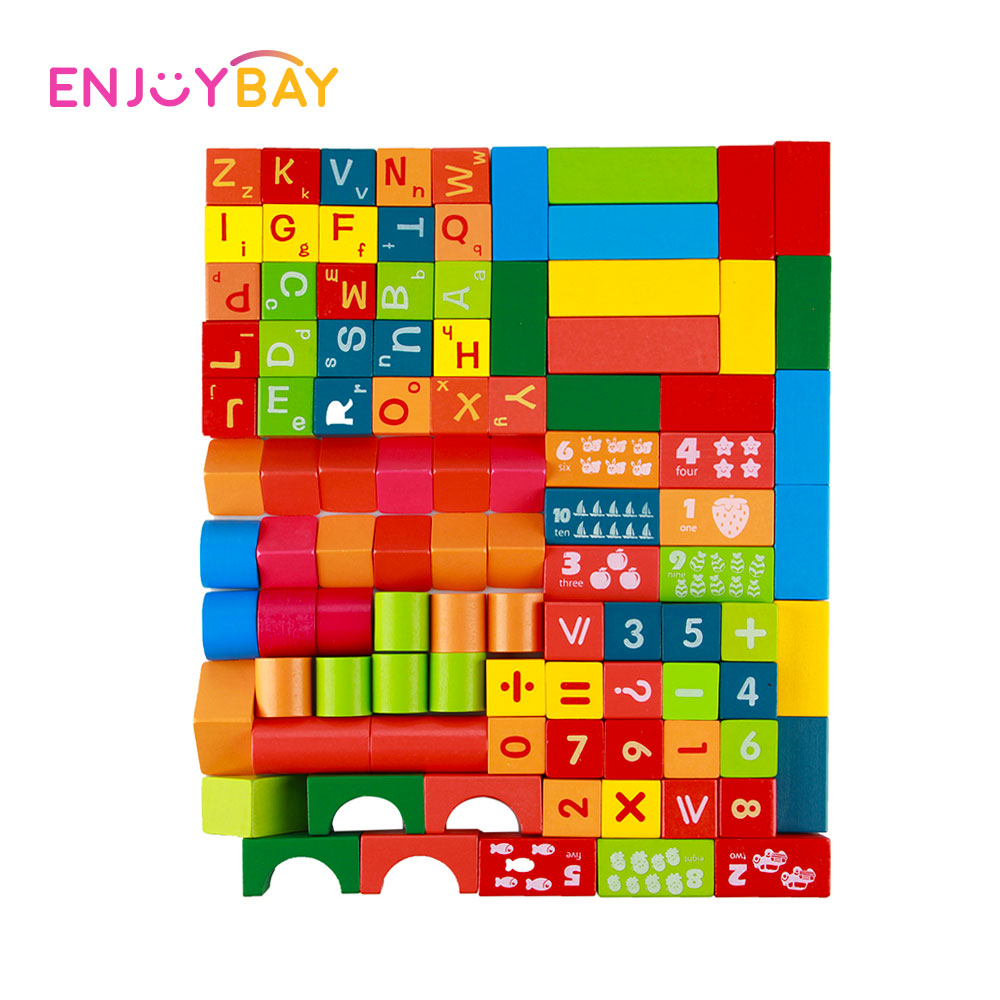 Enjoybay 100pcs Wooden Building Blocks Toy Domino Tower Letters Numbers Wood Custruction Block Brick Kids Early Educational Toys wooden tower wood building blocks kids toy domino 54pcs stacker extract building blocks children educational game gift 4pcs dice