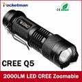 Mini LED Фонарик 2000 Люмен Водонепроницаемый CREE Q5 LED Фонарик 3 Режима Масштабируемые LED Факел фонариком бесплатная доставка
