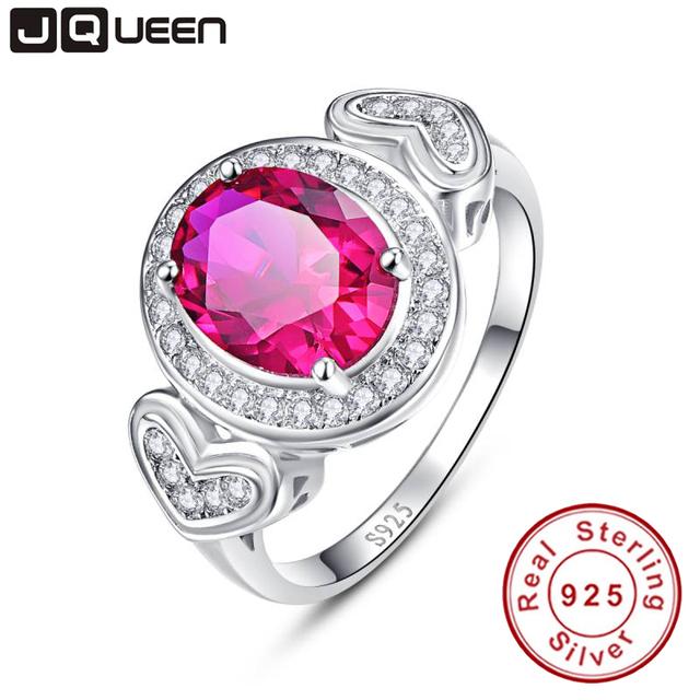 Jqueen amor corazón decoración 3ct creado rojo rubí aniversario promise 925 anillo de plata con la caja de joyería