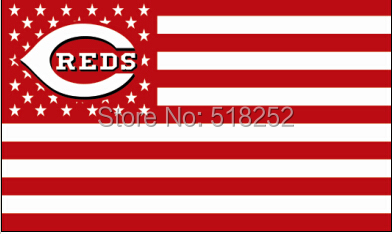 Cincinnati Reds with US Stars Stripes Flag 3x5 FT MLB 150X90CM Banner 100D Polyester Custom flag grommets,free shipping