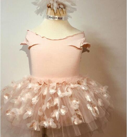 New Pink Bale Dance Dresses For Girls Princess, Litter Children Floral Sweet Party Dress 5 pcs/lot, Wholesale