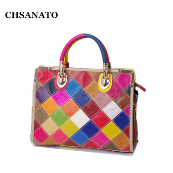 CHSANATO New Women Bags 2020 Casual Colorful Blocks Patchwork Women Tote Bags Genuine Leather Ladies Handbags