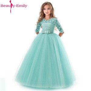 Image 3 - Güzellik Emily O Boyun Yarım Kollu Çiçek Kız Elbisesi 2019 Prenses Balo Dantel Gelinlik Modelleri Çok Renkler Mevcut