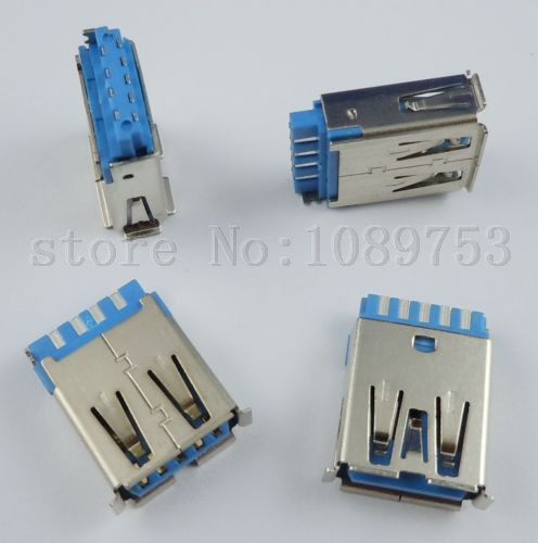 50Pcs USB 3.0 Female Type-A 9 Pin Socket Connector DIY diy usb a 4 pin female connector socket silver 20 piece pack