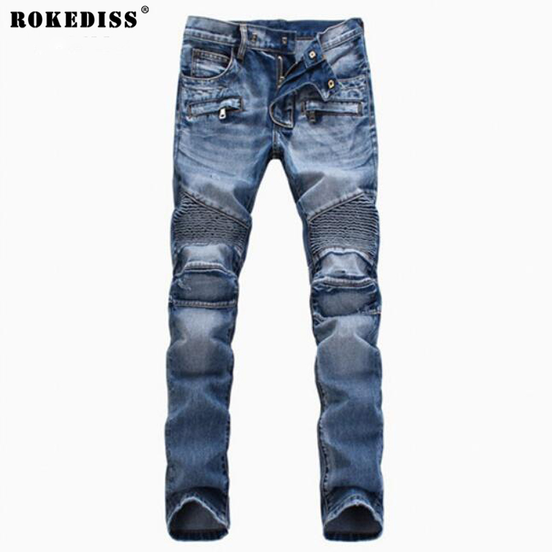 Men's Fashion Brand Designer Ripped Biker Jeans Men Distressed Moto Denim Joggers Washed Pleated Jean Pants Black Blue TC134 fashion brand designer mens torn jeans pants hi street ripped denim joggers gray distressed jean trousers man streetwear lq076