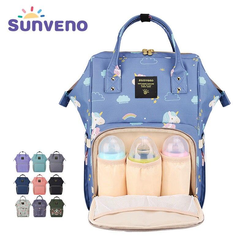 SUNVENO Moda Múmia Saco de Fraldas Maternidade Grande Saco Mochila de Viagem Saco de Carrinho De Bebê Do Desenhador de Enfermagem Cuidados Com o Bebê Fralda Mochila