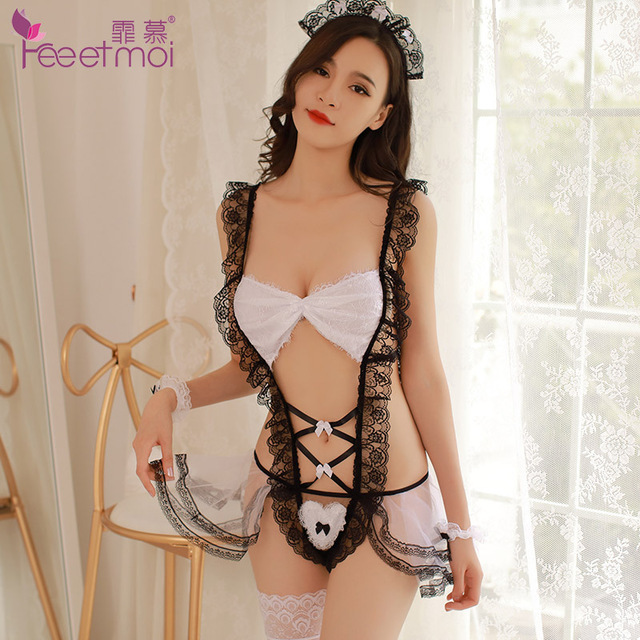2018 New Sexy Lingerie Maid Cosplay Uniform Sex Lingerie For Women Open Crotch Backless Lingerie Hot Erotic Sleepwear Baby Doll