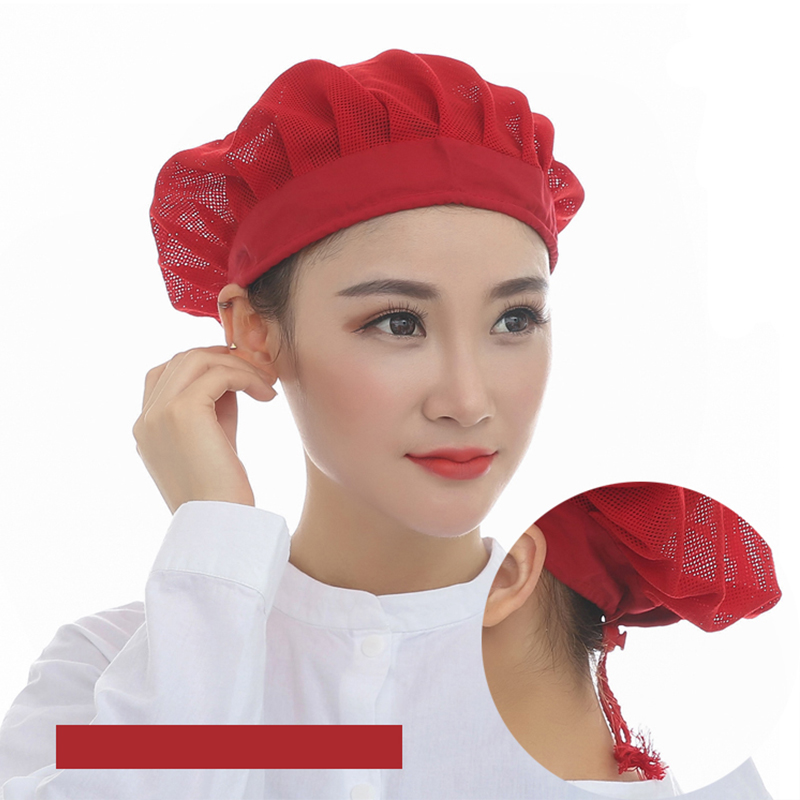 Men And Women Workshop Canteen Hat Chef Hat Breathable Mesh Red Food Caps Adjustable Net Caps Breathable Sanitary Dust Cap