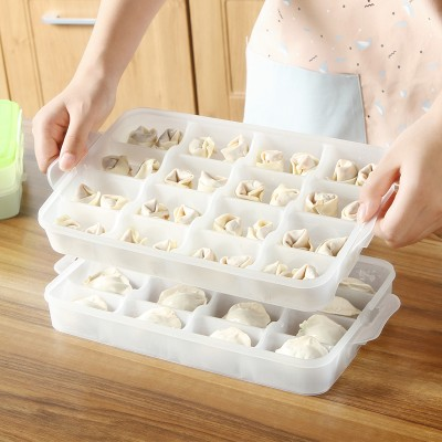 Kitchen Transparent plastic dumpling box fresh keeping storage box free shipping